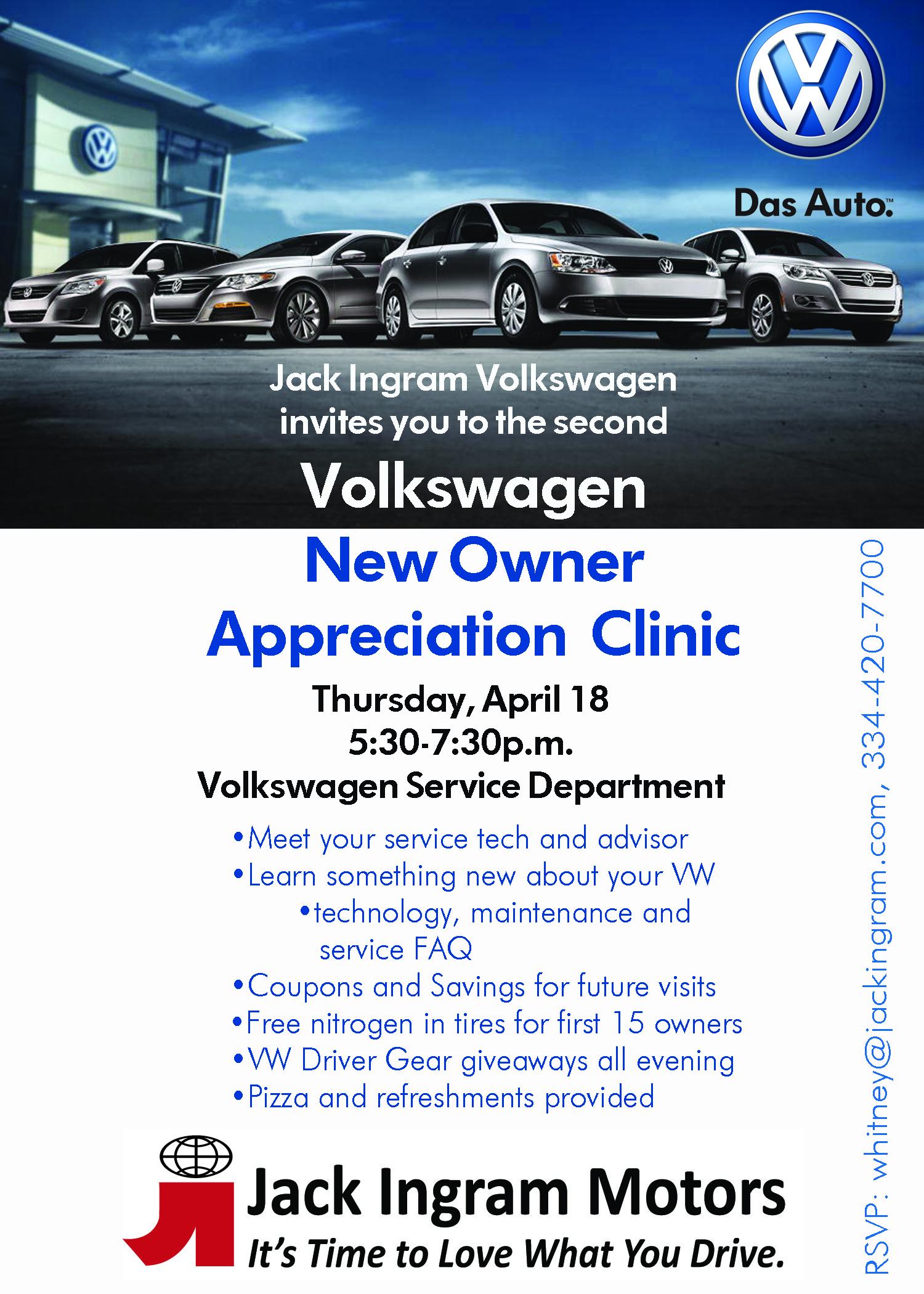 Jack Ingram Volkswagen New Owner Clinic Thursday Night   Jack Ingram Motors' Blog